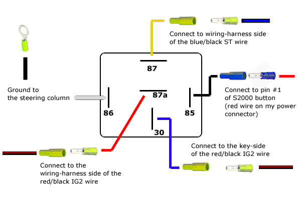 relay wiring diagram 6 pole revlimiter.net - s2000 starter button (90-97 version) relay wiring diagram 4 pole